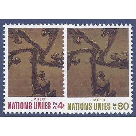 Francobollo raccolta ONU Ginevra N° Yvert e Tellier 28/29 nove senza cerniera