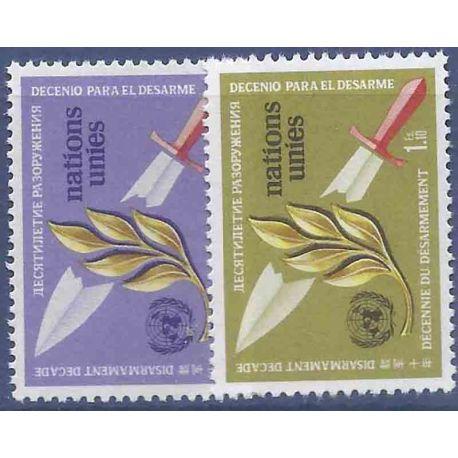 Francobollo raccolta ONU Ginevra N° Yvert e Tellier 30/31 nove senza cerniera