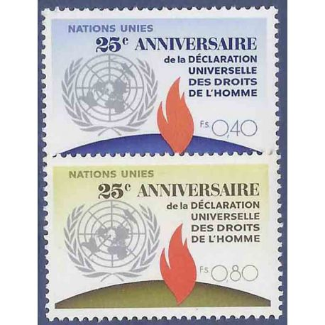 Francobollo raccolta ONU Ginevra N° Yvert e Tellier 35/36 nove senza cerniera
