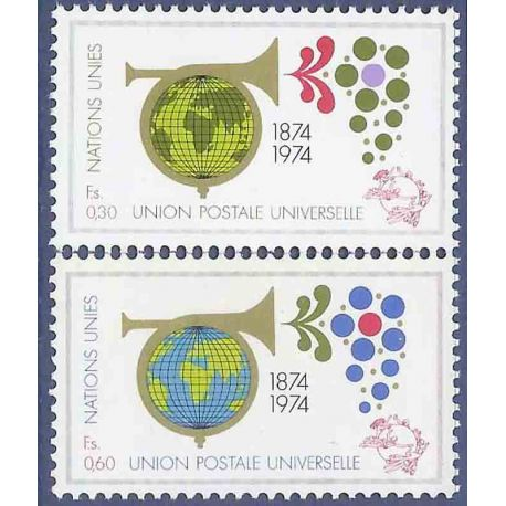 Francobollo raccolta ONU Ginevra N° Yvert e Tellier 39/40 nove senza cerniera