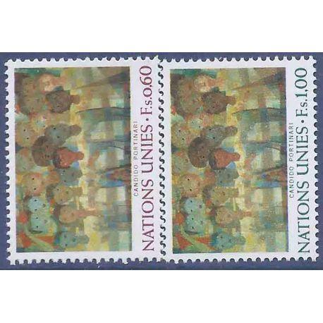 Francobollo raccolta ONU Ginevra N° Yvert e Tellier 41/42 nove senza cerniera
