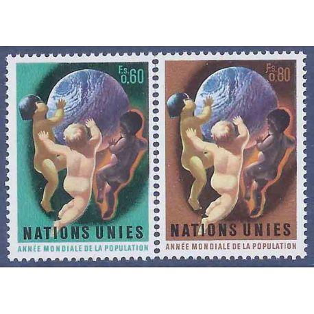 Francobollo raccolta ONU Ginevra N° Yvert e Tellier 43/44 nove senza cerniera