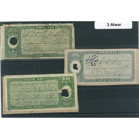 Alwar - three different stamps