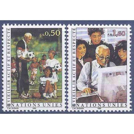Francobollo raccolta ONU Ginevra N° Yvert e Tellier 241/242 nove senza cerniera