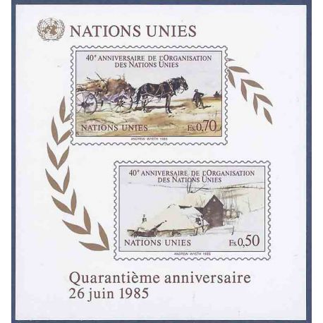 Francobollo raccolta ONU Ginevra N° Yvert e Tellier BF 3 nove senza cerniera
