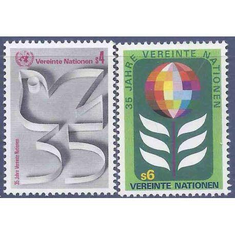 Briefmarkensammlung UNO Wien N° Yvert und Tellier 12/13 neun ohne Scharnier