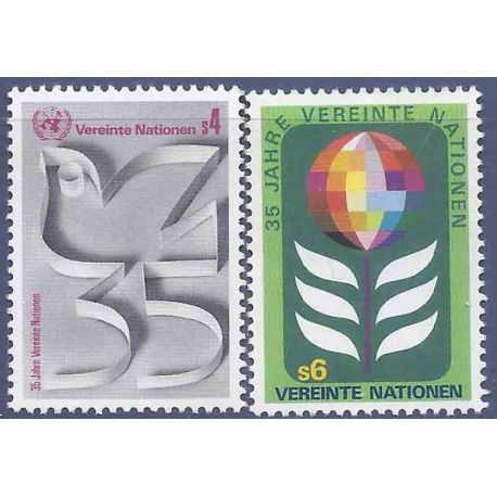 Francobollo raccolta ONU Vienna N° Yvert e Tellier 12/13 nove senza cerniera