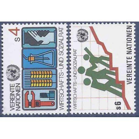 Francobollo raccolta ONU Vienna N° Yvert e Tellier 14/15 nove senza cerniera