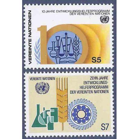 Briefmarkensammlung UNO Wien N° Yvert und Tellier 21/22 neun ohne Scharnier