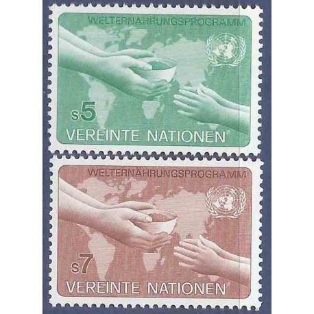 Francobollo raccolta ONU Vienna N° Yvert e Tellier 32/33 nove senza cerniera