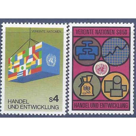 Francobollo raccolta ONU Vienna N° Yvert e Tellier 34/35 nove senza cerniera
