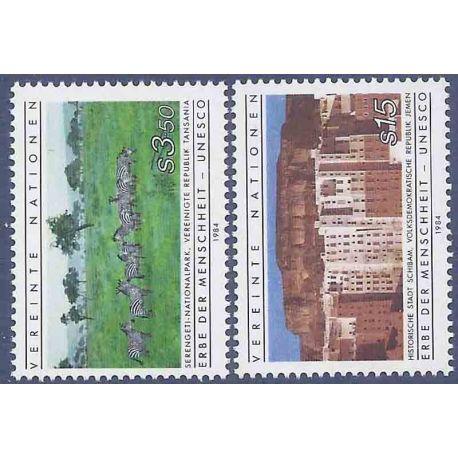 Francobollo raccolta ONU Vienna N° Yvert e Tellier 41/42 nove senza cerniera