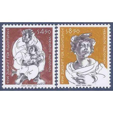 Francobollo raccolta ONU Vienna N° Yvert e Tellier 43/44 nove senza cerniera