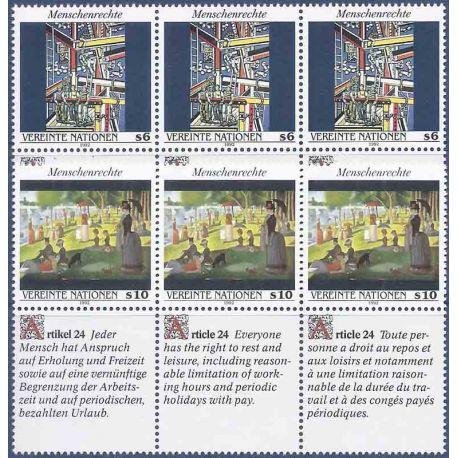 Briefmarkensammlung UNO Wien N° Yvert und Tellier 151/156 neun ohne Scharnier
