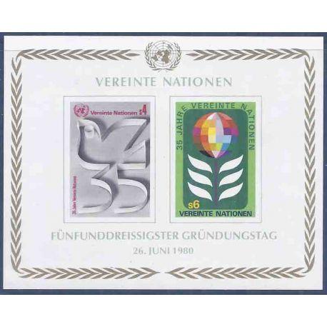 Briefmarkensammlung UNO Wien N° Yvert und Tellier blockieren 1 neun ohne Scharnier