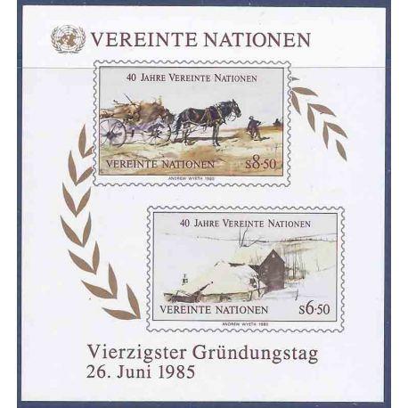 Briefmarkensammlung UNO Wien N° Yvert und Tellier blockieren 2 neun ohne Scharnier