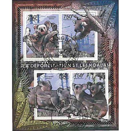 Bloc de 4 timbres Les Koalas