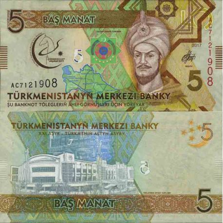 Billets de collection Billet de banque collection Turkmenistan - PK N° 37 - 5 Manats Billets du Turkmenistan 5,50 €