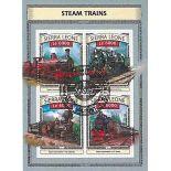 Bloc de 4 timbres trains à vapeur