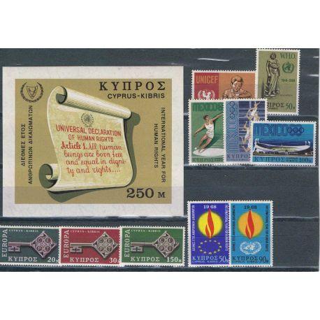 Nuevos sellos Chipre 1968 en Año Completo