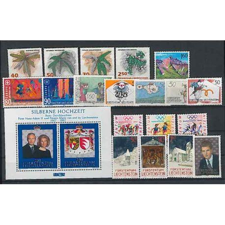 Timbres Neufs Liechtenstein 1992 en Année Complète