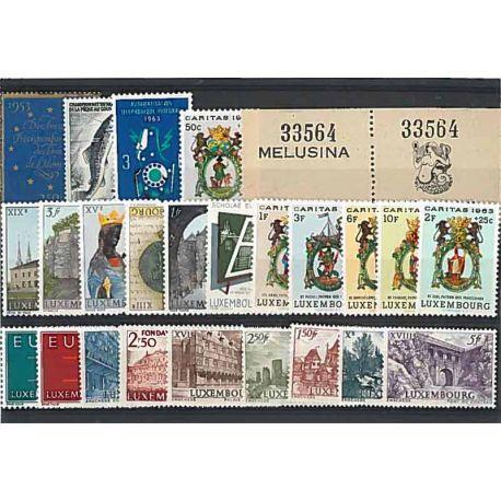 Año completo Sellos nuevos sin charnela 1962 de Luxemburgo