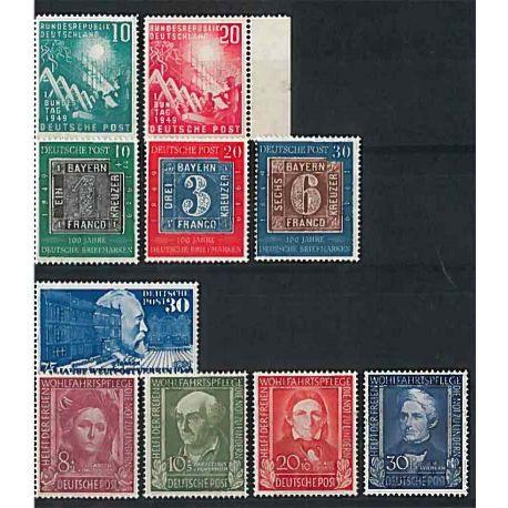 Die Bundesrepublik Deutschland 1949 vollständiges Jahr in neuen Stempeln