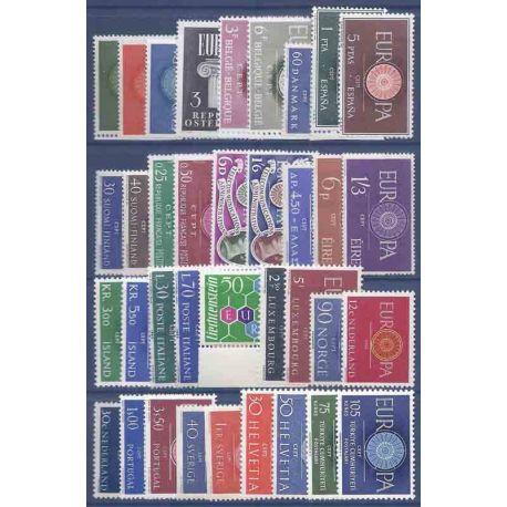 Francobolli nuovi Europa 1960 in anno completo