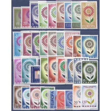 Francobolli nuovi Europa 1964 in anno completo