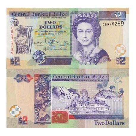 Billet de banque collection Belize - PK N° 52 - 2 Dollars