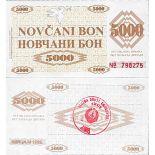 Billet de banque collection Bosnie - PK N° 27 - 5000 Dinara