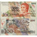 Banknote Sammlung Brasilien - PK Nr. 224 - 100 Cruzeiros