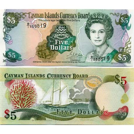 Billet de banque collection Caimanes - PK N° 17 - 5 Dollars