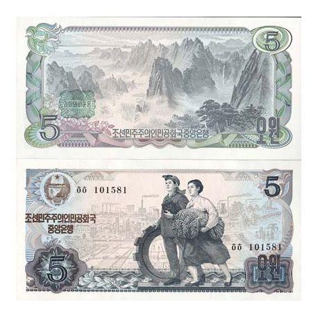 Billet de banque collection Coree Nord - PK N° 19B - 5 Won