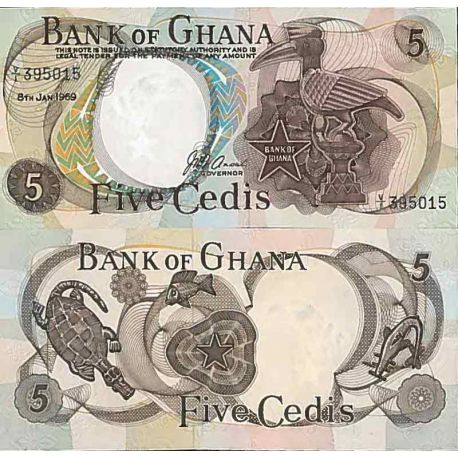 Billets de collection Billet de banque collection Ghana - PK N° 11 - 5 Cedis Billets du Ghana 68,00 €