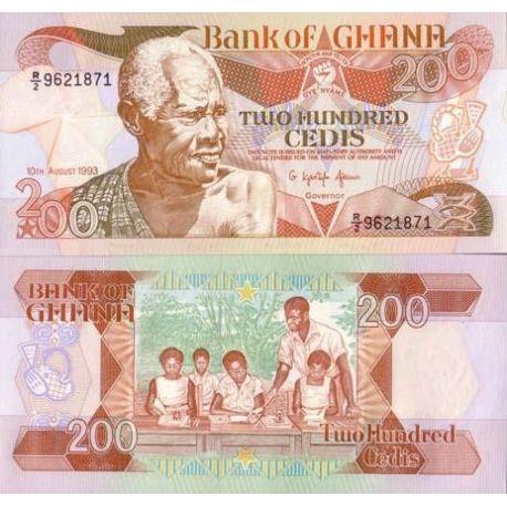 Billet de banque collection Ghana - PK N° 27B - 200 Cedis