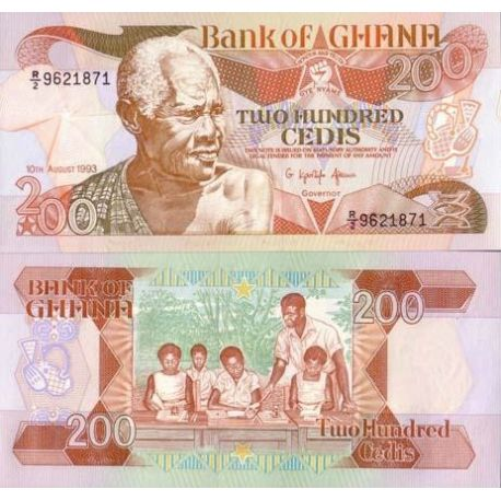 Billet de banque collection Ghana - PK N° 27B - 200 Cedis