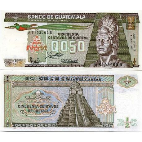 Billet de banque collection Guatemala - PK N° 65 - 0,5 Quetzal