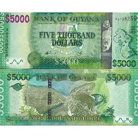 Billet de banque collection Guyane - PK N° 40 - 5000 Dollars