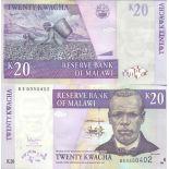 Billete de banco colección Malaui - PK N° 52 - 20 Kwacha