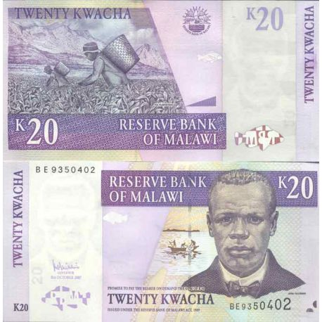 Billet de banque collection Malawi - PK N° 52 - 20 Kwacha