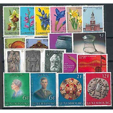 Luxembourg complete year 1975 Mint NH stamps