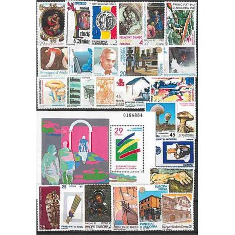 Stamps Spanish Andorra 1990/94 in complete Year
