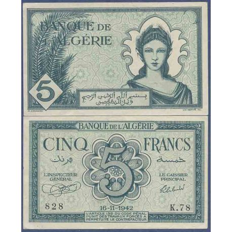 Billet de banque collection Algérie - PK N° 91 - 5 Francs