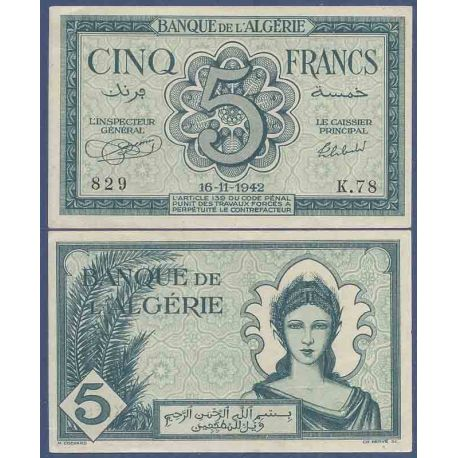 Billets de collection Billet de banque collection Algérie - PK N° 91 - 5 Francs Billets d'Algerie 40,00 €