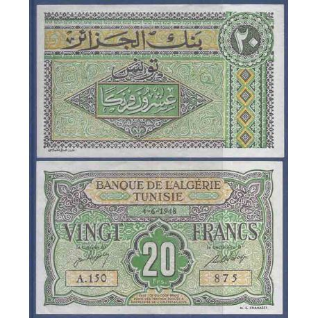 Banconota raccolta di Tunisia - Pk N° 22 - 20 Franco