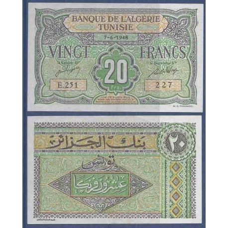 Billet de banque collection Tunisie - PK N° 22 - 20 Francs