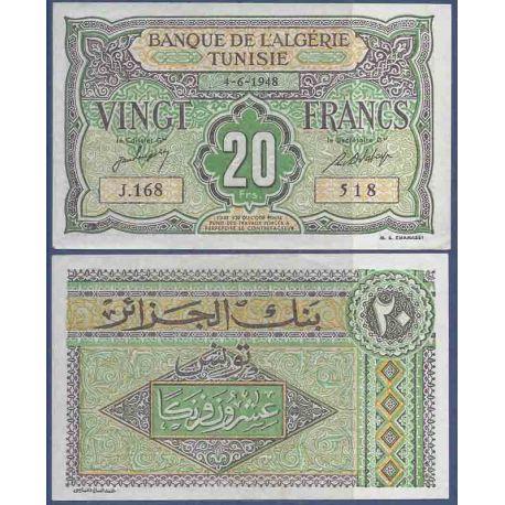 Colección de Túnez del billete de banco - PK N° 22 - 20 francos