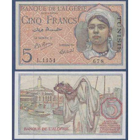 Billets de collection Billet de banque collection Tunisie - PK N° 16 - 5 Francs Billets de Tunisie 40,00 €