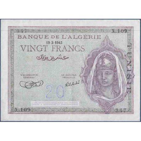 Colección de Túnez del billete de banco - PK N° 17 - 20 francos